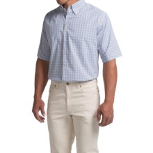 Scott Barber James Compact Poplin Shirt - Short Sleeve (For Men) in Navy/Tobacco/Blue/Light Blue - Closeouts