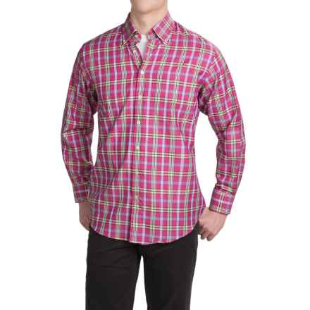 Scott Barber James Cotton Dobby Shirt - Long Sleeve (For Men) in Fuschia/Green/Blue/Yellow Plaid - Closeouts