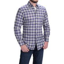 Scott Barber James Cotton Heather Plaid Shirt -  Long Sleeve (For Men) in Blue/Heather Grey/Natural - Closeouts