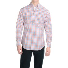 Scott Barber James Cotton Poplin Shirt - Long Sleeve (For Men) in Blue/Orage/Khaki Check - Closeouts