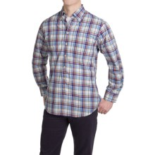 Scott Barber James Cotton Poplin Shirt - Long Sleeve (For Men) in Blue/Pink/Brown Plaid - Closeouts