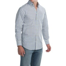 Scott Barber James Cotton Poplin Shirt - Long Sleeve (For Men) in White W/Blue/Green Check - Closeouts