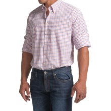 Scott Barber James Cotton Poplin Shirt - Long Sleeve (For Men) in White W/Orange/Purple Check - Closeouts