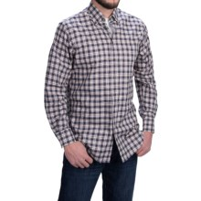 Scott Barber James Cotton Twill Plaid Shirt -  Long Sleeve (For Men) in Navy/Cream/Brown/Purple - Closeouts