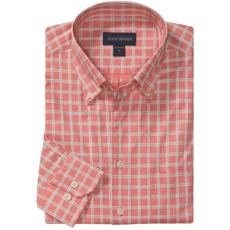 Scott Barber James Dobby Check Sport Shirt - Cotton, Long Sleeve (For Men) in Coral/Brown