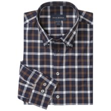 Scott Barber James Fancy Check Shirt - French Front, Long Sleeve (For Men) in Navy/Brown/White - Closeouts