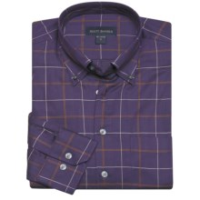 Scott Barber James Fancy Check Sport Shirt - Long Sleeve (For Men) in Violet/Tan/White - Closeouts