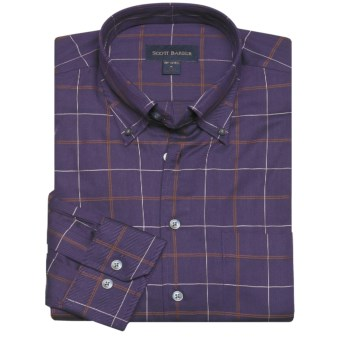 Scott Barber James Fancy Check Sport Shirt - Long Sleeve (For Men) in Violet/Tan/White