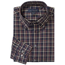 Scott Barber James Fancy Herringbone Check Sport Shirt - Long Sleeve (For Men) in Navy/Tobacco/Chamois - Closeouts