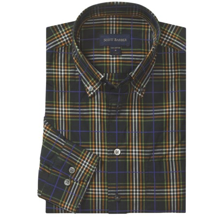 Scott Barber James Garment-Washed Sport Shirt - Cotton, Long Sleeve (For Men) in Black/Green/Orange Plaid