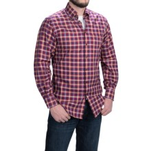 Scott Barber James Peached Check Shirt - Button-Down Collar, Long Sleeve (For Men) in Red/Light Blue/Royal/Tan - Closeouts