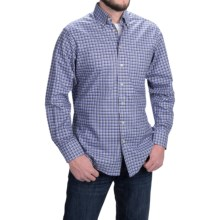 Scott Barber James Peached Check Shirt - Button-Down Collar, Long Sleeve (For Men) in Sky Blue/Black/White - Closeouts