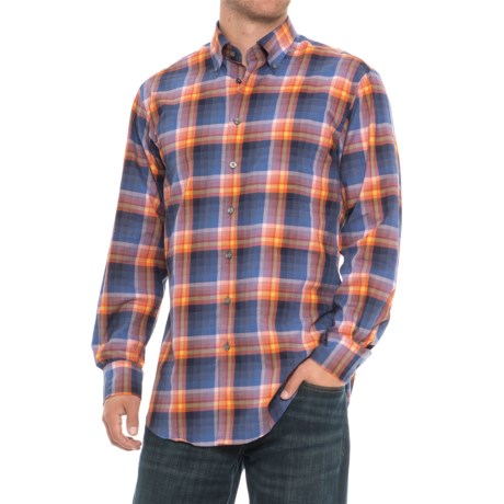Scott Barber James Plaid Shirt - Long Sleeve (For Men) in Red/Yellow/Orange Plaid