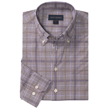 Scott Barber James Plaid Sport Shirt - Long Sleeve (For Men) in Brown/Lavender/White
