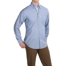 Scott Barber James Plain Weave Cotton Shirt - Long Sleeve (For Men) in Blue/Tobacco Plaid - Closeouts