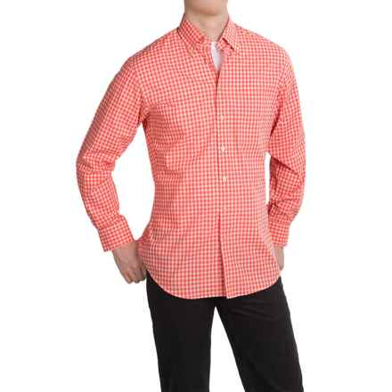 Scott Barber James Plain Weave Cotton Shirt - Long Sleeve (For Men) in Coral Gingham - Closeouts