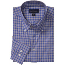 Scott Barber James Poplin Check Shirt - Button Down, Long Sleeve (For Men) in Blue/Brown - Closeouts