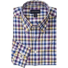 Scott Barber James Poplin Check Shirt - Button Down, Long Sleeve (For Men) in Pink/Blue/White/Yellow - Closeouts