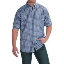 Scott Barber James Poplin Check Shirt - Button Front, Short Sleeve (For Men) in Black/Navy Plaid - Closeouts