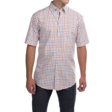 Scott Barber James Poplin Check Shirt - Button Front, Short Sleeve (For Men) in Blue/Orage/Khaki Check - Closeouts