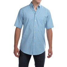 Scott Barber James Poplin Check Shirt - Button Front, Short Sleeve (For Men) in Blue/White/Navy Plaid - Closeouts