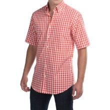 Scott Barber James Poplin Check Shirt - Button Front, Short Sleeve (For Men) in Coral/White Check - Closeouts