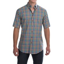 Scott Barber James Poplin Check Shirt - Button Front, Short Sleeve (For Men) in Multi Check - Closeouts