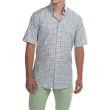 Scott Barber James Poplin Check Shirt - Button Front, Short Sleeve (For Men) in White W/Blue/Green Check - Closeouts