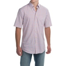Scott Barber James Poplin Check Shirt - Button Front, Short Sleeve (For Men) in White W/Orange/Purple Check - Closeouts