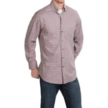 Scott Barber James Poplin Check Shirt - Long Sleeve (For Men) in Cream/Purple/Grey - Closeouts