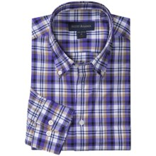 Scott Barber James Poplin Plaid Shirt - Button Down, Long Sleeve (For Men) in Purple/Tan/White - Closeouts