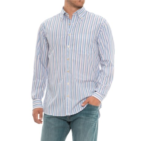 Scott Barber James Print Shirt - Long Sleeve (For Men) in White/Blue/Gold/Purple Striped