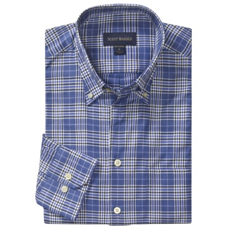 Scott Barber James Sport Shirt - Glen Plaid, Long Sleeve (For Men) in Blue/White/Navy