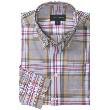Scott Barber James Sport Shirt - Glen Plaid, Long Sleeve (For Men) in Grey/White/Plum