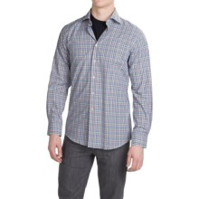 Scott Barber Martin Compact Poplin Shirt - Long Sleeve (For Men) in Blue/Lime/Orange/Purple Check - Closeouts