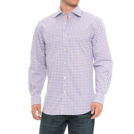 Scott Barber Martin Cotton Plaid Shirt - Long Sleeve (For Men) in Purple/Grey/White Plaid