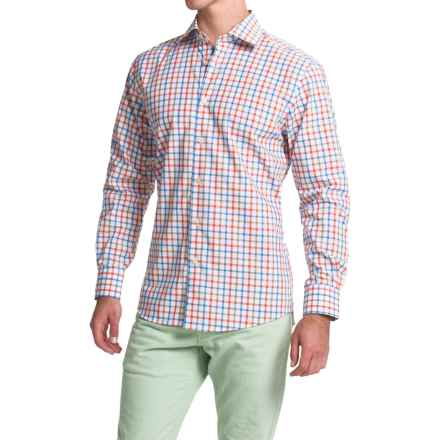 Scott Barber Martin Cotton Poplin Shirt - Long Sleeve (For Men) in Blue/Orage/Khaki Check - Closeouts