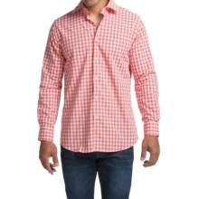Scott Barber Martin Cotton Poplin Shirt - Long Sleeve (For Men) in Coral/White Check - Closeouts