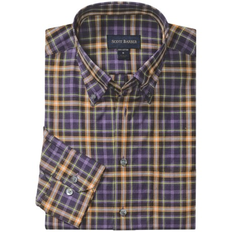 Scott Barber Melange Check Sport Shirt - Cotton, Long Sleeve (For Men) in Purple/Orange/Lime