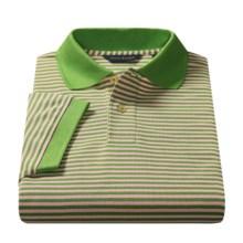 Scott Barber Polo Shirt - Pima Cotton Piqué, Striped (For Men)  in Kiwi / Light Pink - Closeouts