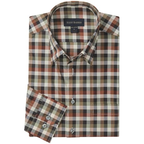 Scott Barber Spring Andrew Check Sport Shirt - Hidden Button Down, Long Sleeve (For Men) in Multi-Earth