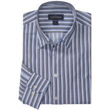 Scott Barber Spring Andrew Stripe Sport Shirt - Long Sleeve (For Men) in Lt Blue/Navy/Brown - Closeouts
