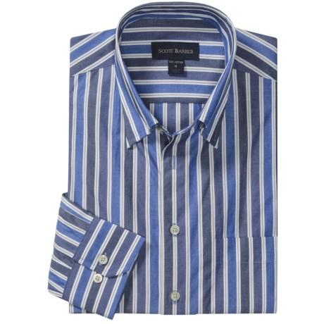 Scott Barber Spring Andrew Stripe Sport Shirt - Long Sleeve (For Men) in Navy/Blue