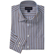 Scott Barber Spring Christopher Track Stripe Sport Shirt - Spread Collar, Long Sleeve (For Men) in Brown/Blue - Closeouts