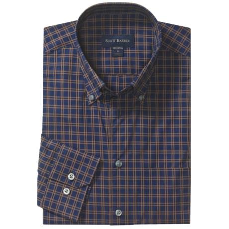 Scott Barber Spring James Check Sport Shirt - Cotton, Long Sleeve (For Men) in Pink/Grey