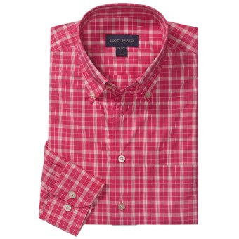 Scott Barber Spring James Check Sport Shirt - Cotton, Long Sleeve (For Men) in Red