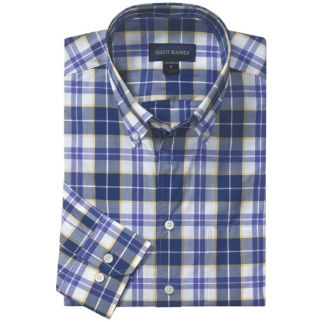 Scott Barber Spring James Sport Shirt - Cotton Plaid, Long Sleeve (For Men) in Navy/Cream/Brown