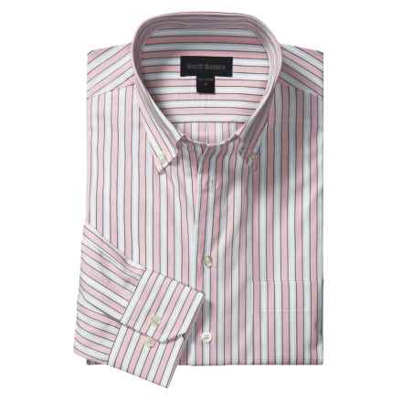Scott Barber Stripe Sport Shirt - Cotton, Long Sleeve (For Men) in Pink/White/Burgundy - Closeouts