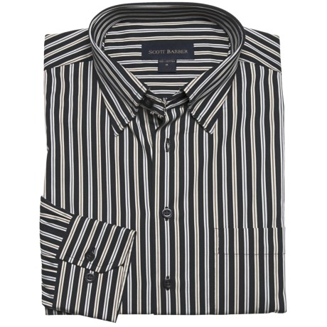 Scott Barber Stripe Sport Shirt - Long Sleeve (For Men) in Black/Tan/Brown