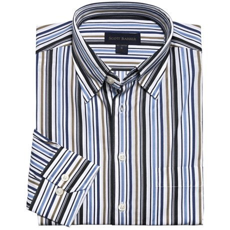 Scott Barber Stripe Sport Shirt - Long Sleeve (For Men) in White/Tan/Blue